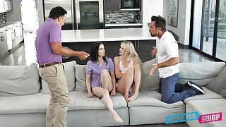 Kinky daughter modulation round Kenna James, Jenna Ross and their horny stepdads